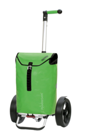 Boodschappenwagen met extra grote wielen voor achter de fiets, Tura Shopper Ortlieb Groen