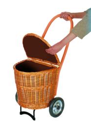 Rieten boodschappenwagen klein, in de kleur Crème, met stof