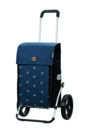 Boodschappenwagen met grote 3-spaken wielen, Royal Shopper Ando Blauw