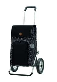 Boodschappenwagen met grote wielen met metalen spaken, Royal Shopper Mara Zwart