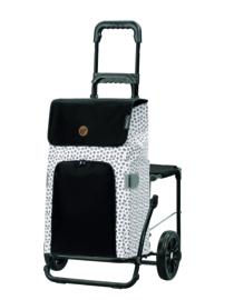 Opvouwbare boodschappenwagen met zitje, Komfort Shopper Mara Wit