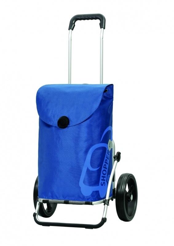 Boodschappenwagen met grote 3-spaken wielen, Royal Shopper Pepe Blauw