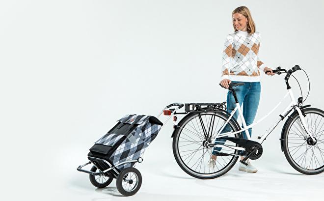 Opvouwbare Royal Shopper met grote wielen voor achter de fiets