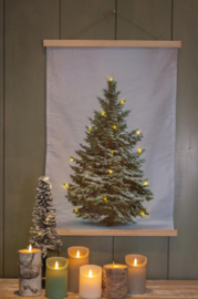 Wj09 Wanddoek met kerstboom en lichtjes (fluweel)