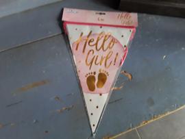 Bon403 Vlaggenslinger Hallo Girl, roze goud