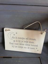 Maal11 Als ik eventjes wil dromen (houten bordje)