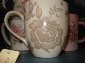 C 51 Beker bloem beige Clayre&Eef