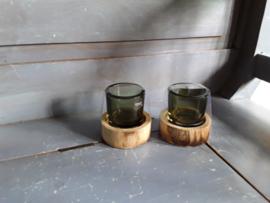 Bon338 Windlichtje op houten voetje (groen)