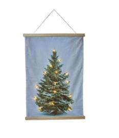Wj10 Wanddoek kerstboom met lichtjes (fluweel) groot