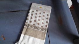Cla06 Handdoek beige stip/kopjes