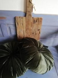 Kol18 Rond velvet kussen (dk groen)