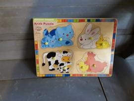 Bon42 Houten stokjes puzzel dieren