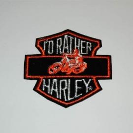 Embleem stof i`d rather Harley
