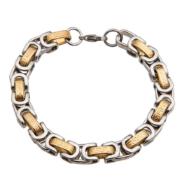 Konings armband edelstaal- 049 bicolor