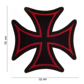 Embleem stof maltezer kruis (rood-groot)