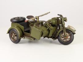 Metalen Model Legermotor Met Zijspan