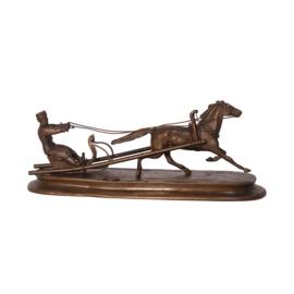 Bronzen Beeld Paard Trekt Slee