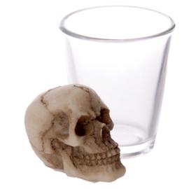 Schedel hoofd borrelglas-4 stuks