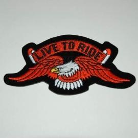 Embleem stof Live to ride adelaar