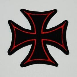 Embleem stof maltezer kruis (rood-klein)