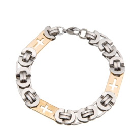 Konings armband edelstaal - 047 bicolor