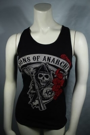 Sons of Anarchy- Reaper with roses Dames Tanktop- zwart