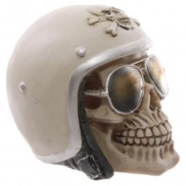 Schedel met helm en zonnebril