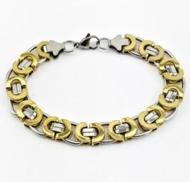 Konings armband edelstaal - 004 bicolor