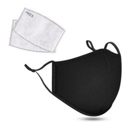 Mondkapje Wasbaar met 2 Filters Zwart