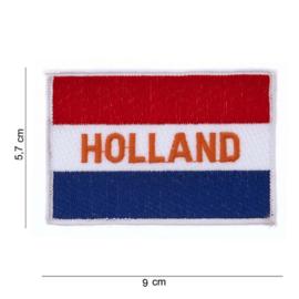 Embleem stof vlag met tekst holland