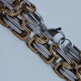Konings armband edelstaal 05-042 bicolor