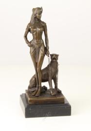 Bronzen Beeld Cleopatra Met Panter