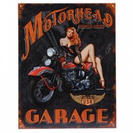 Metalen plaat groot . Motorhead garage