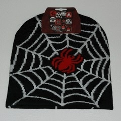 Beanie red spider with white web