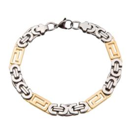 Konings armband edelstaal -034 bicolor