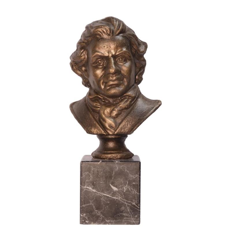 Gietijzeren Buste Beethoven Op Marmeren Sokkel