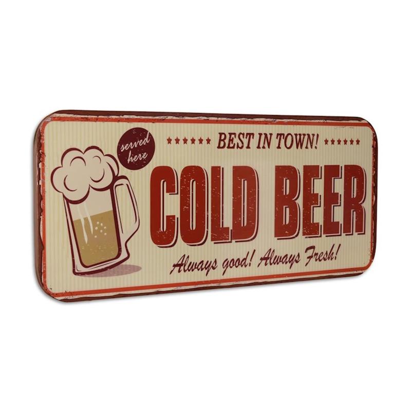 Metalen Wandplaat Cold Beer-100 cm