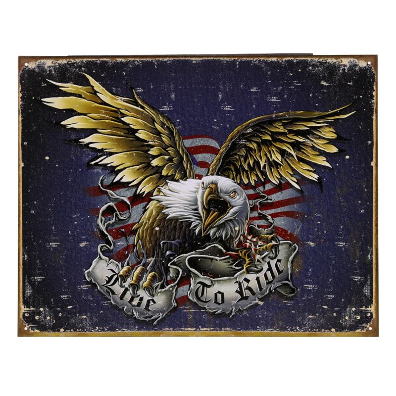 Metalen plaat groot . Live to Ride Eagle