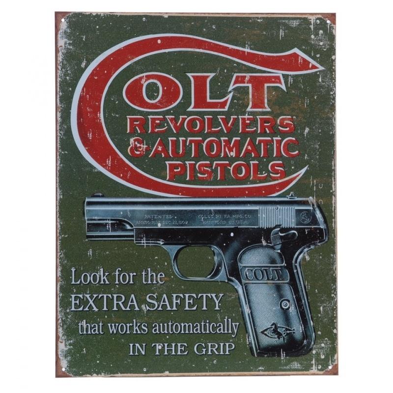 Metalen plaat groot 3. Colt revolvers & automatic pistols