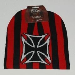 Beanie red stripes, iron cross