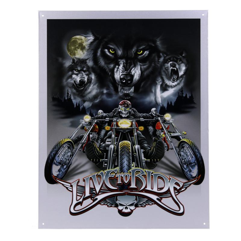 Metalen plaat groot . Live To Ride Wolves