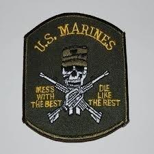 Embleem stof US marines (doodskop)