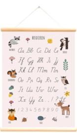 Schoolplaat bosdieren alfabet roze 50x70 cm