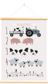 Schoolplaat boerderijdieren tellen roze 50x70 cm