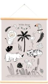 Schoolplaat wilde dieren tropics roze  50x70 cm