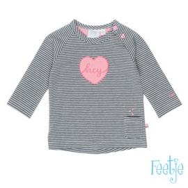 Shirt grijs gestreept roze hart hey 516.01279