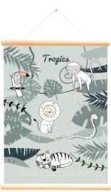 Schoolplaat wilde dieren tropics groen 50x70 cm