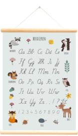 Schoolplaat bosdieren alfabet blauw 50x70 cm