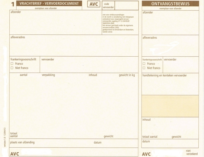 250 st AVC vrachtbrieven, 3-voudig A5 (19 x 15 cm) (art 2003250)