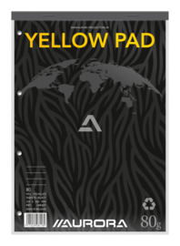 Pack of 5 Superior Yellow Notepad A4, stapled on top + linen strip